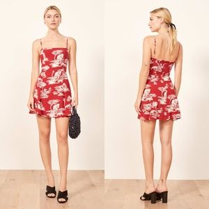 REFORMATION Red Elephant Tiger Print Kendall 10